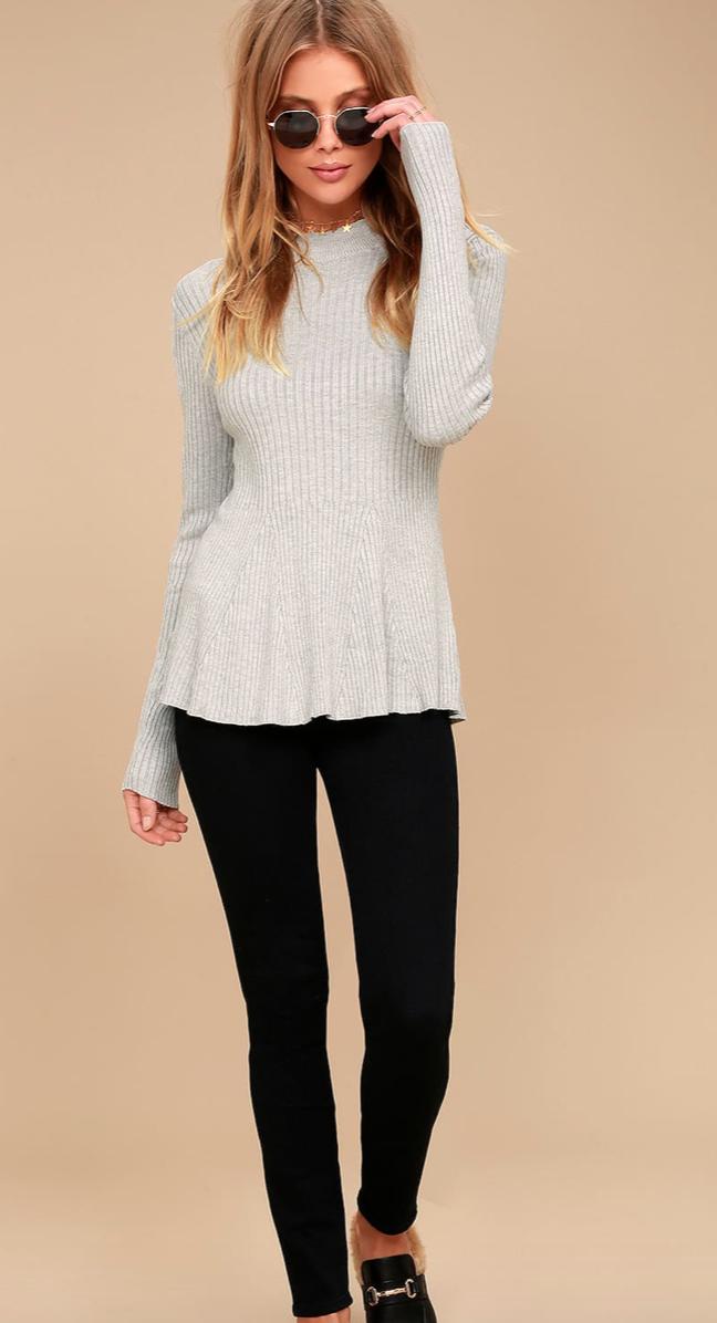 Autobiography Heather Grey Peplum Sweater Top, $52  Photo Credit:  Lulus
