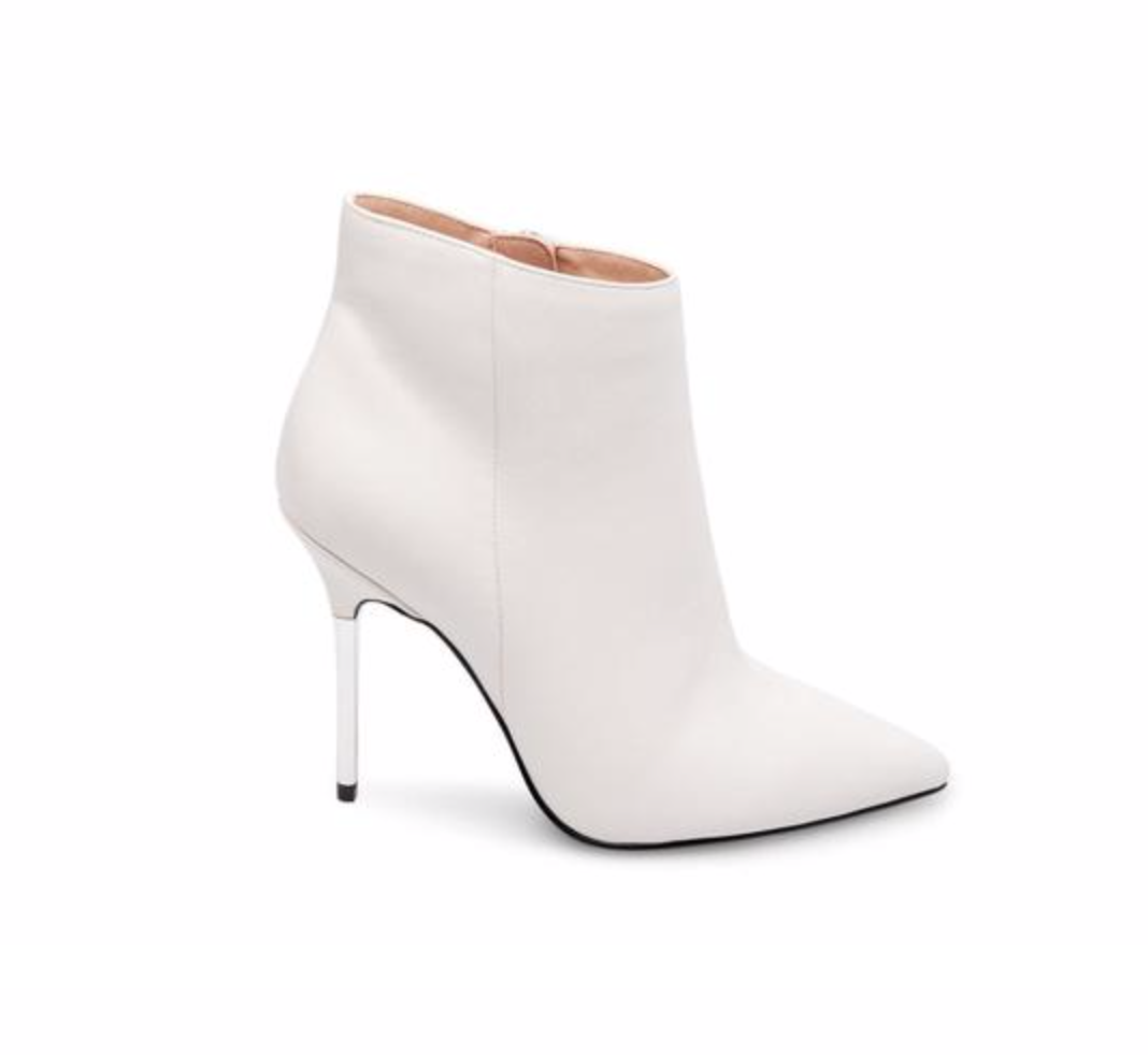 Danya White Leather Booties, $139.95  Photo Credit:  Steve Madden