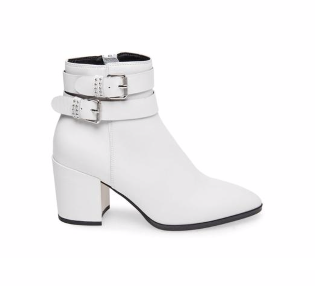 Pearle White Leather Booties, $159.95  Photo Credit:  Steve Madden