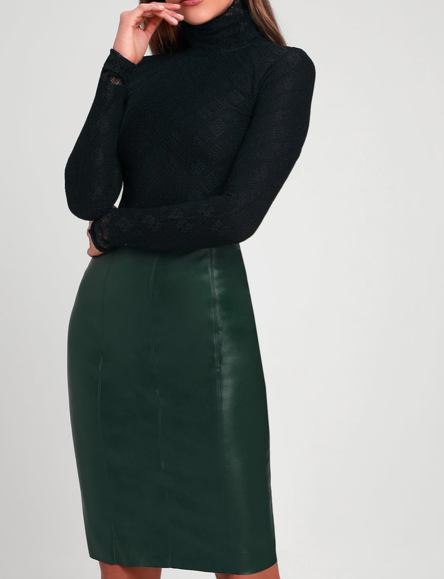 Pencil Me In Forest Green Vegan Leather Midi Skirt, $46  Photo Credit:  Lulus