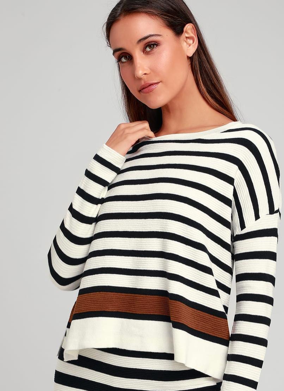 Lali Ivory Striped Sweater, $58  Photo Credit:  Lulus
