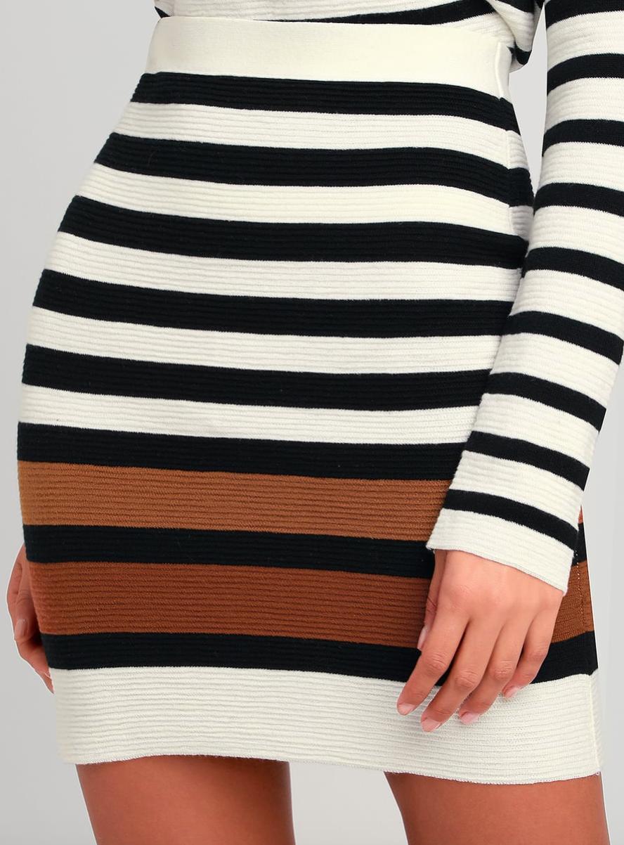 Trixie Ivory Striped Sweater Mini Skirt, $51  Photo Credit:  Lulus