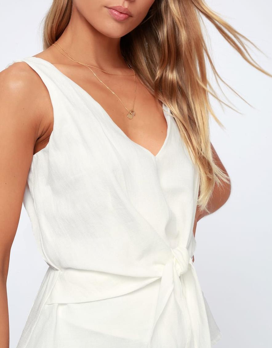 Landra White Sleeveless Tie Front Top, $37  Photo Credit:  Lulus