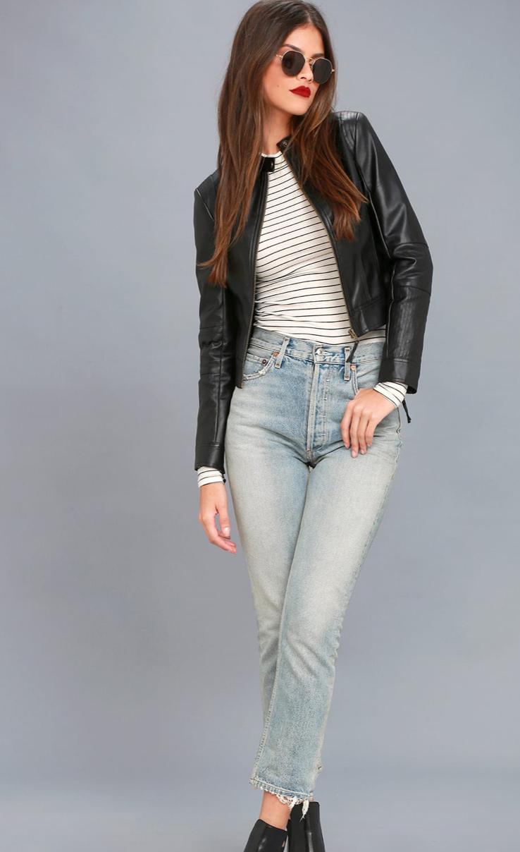 Don't Hold Back Black Vegan Leather Moto Jacket, $88  Photo Credit:  Lulus