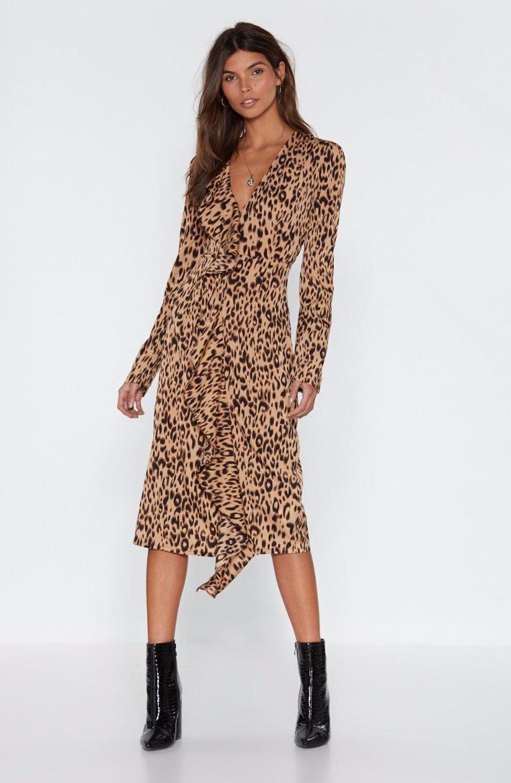 Leopard Meow-ment Ruffle Midi Dress