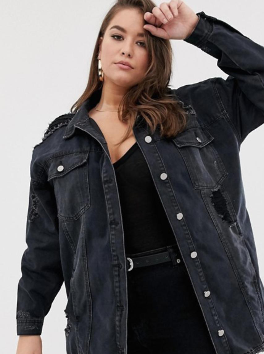 Oversized Denim Jacket with Distressing