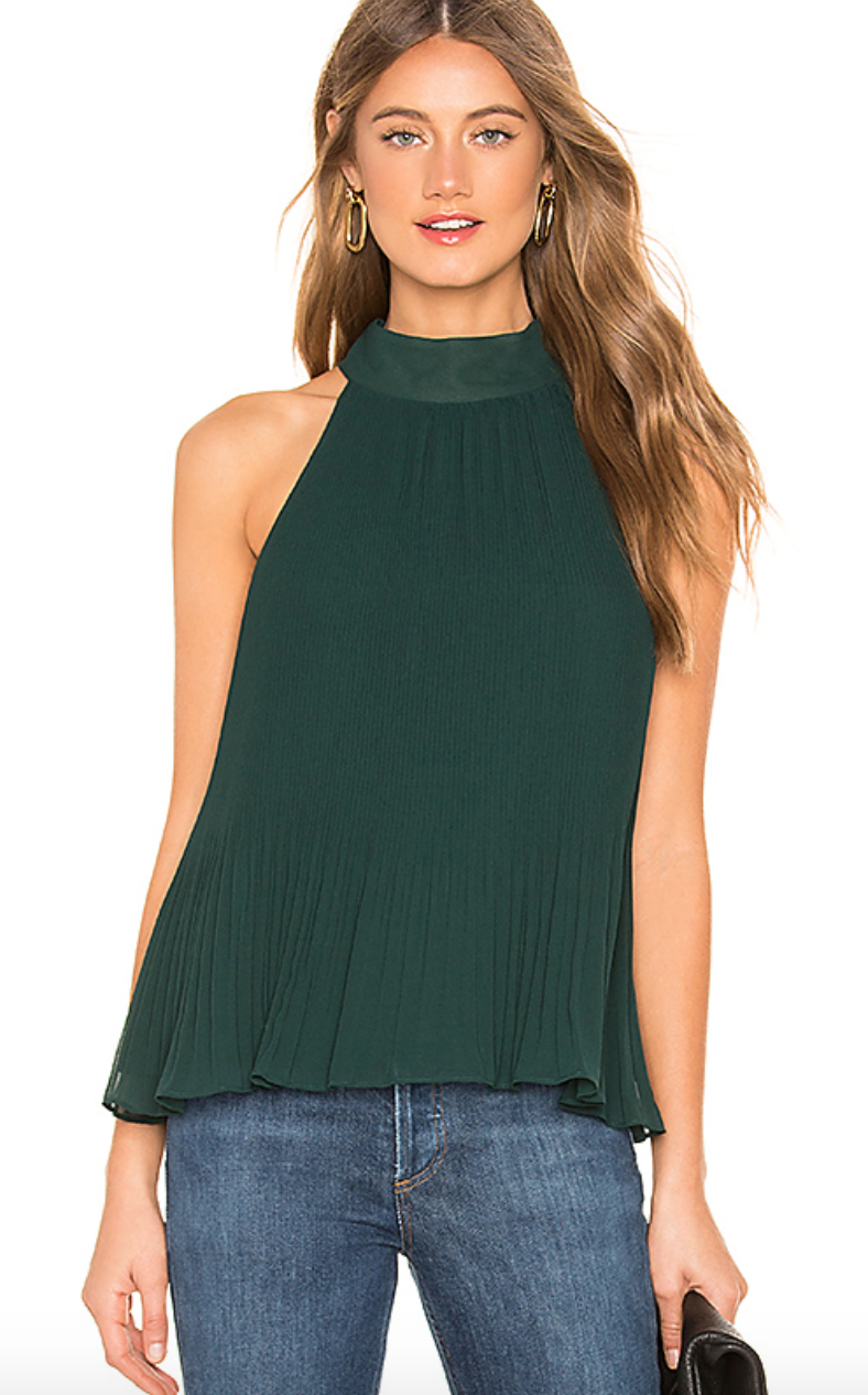 Halter Tie Pleated Blouse in Cypress Pine