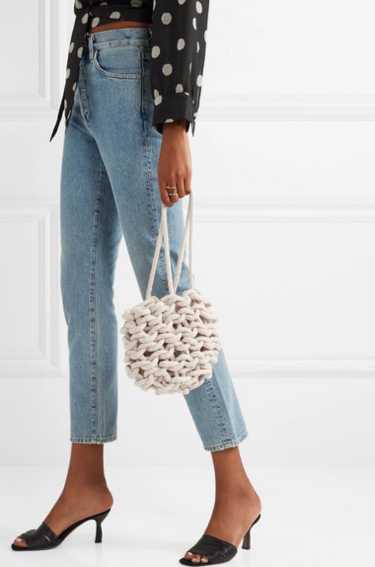 Julia Woven Cotton Bucket Bag