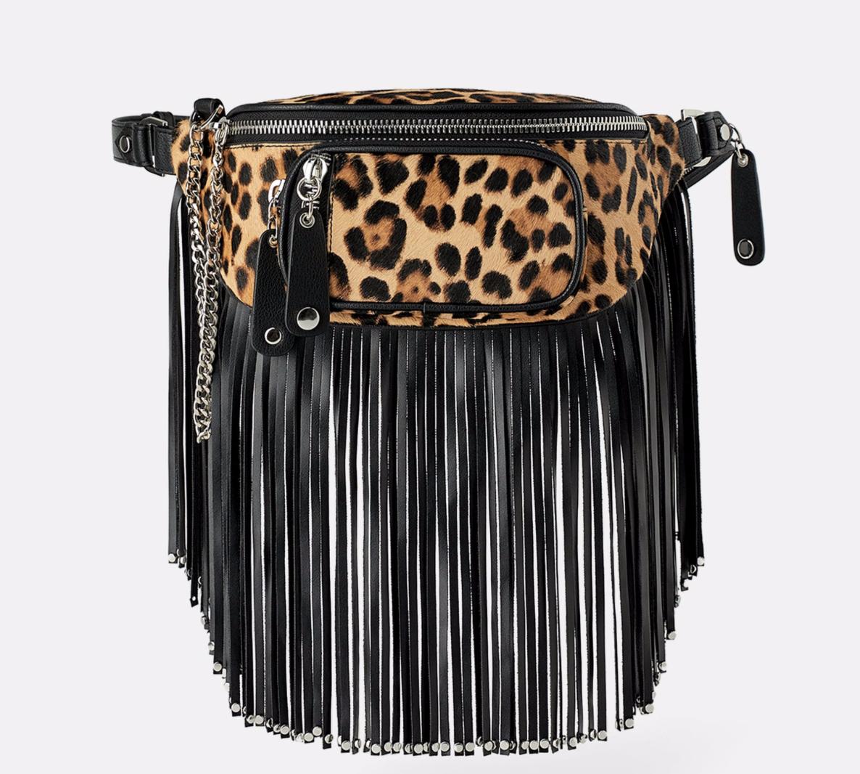 Zippered Animal Print Crossbody Belt Bag