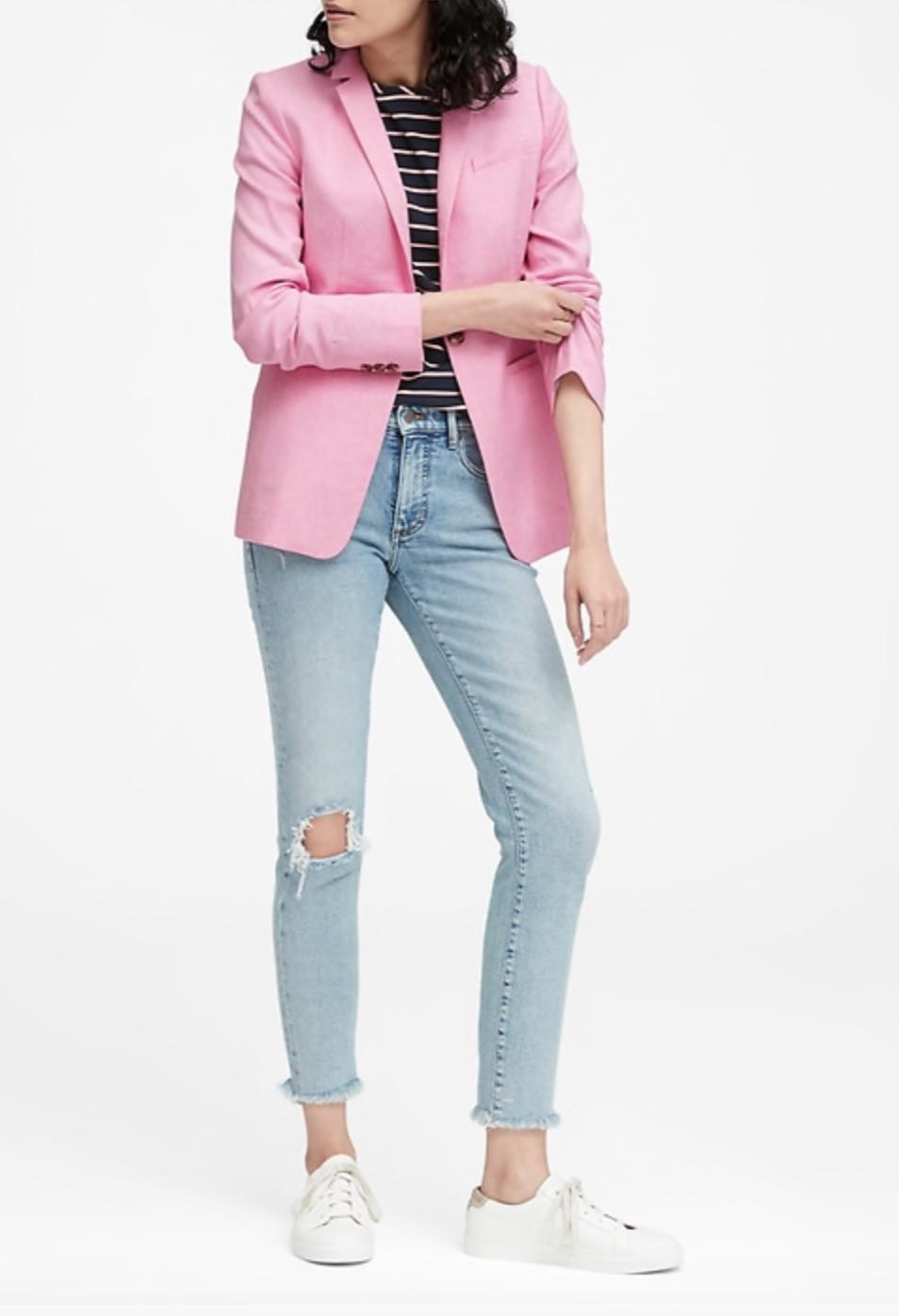 Long and Lean-Fit Linen-Cotton Blazer