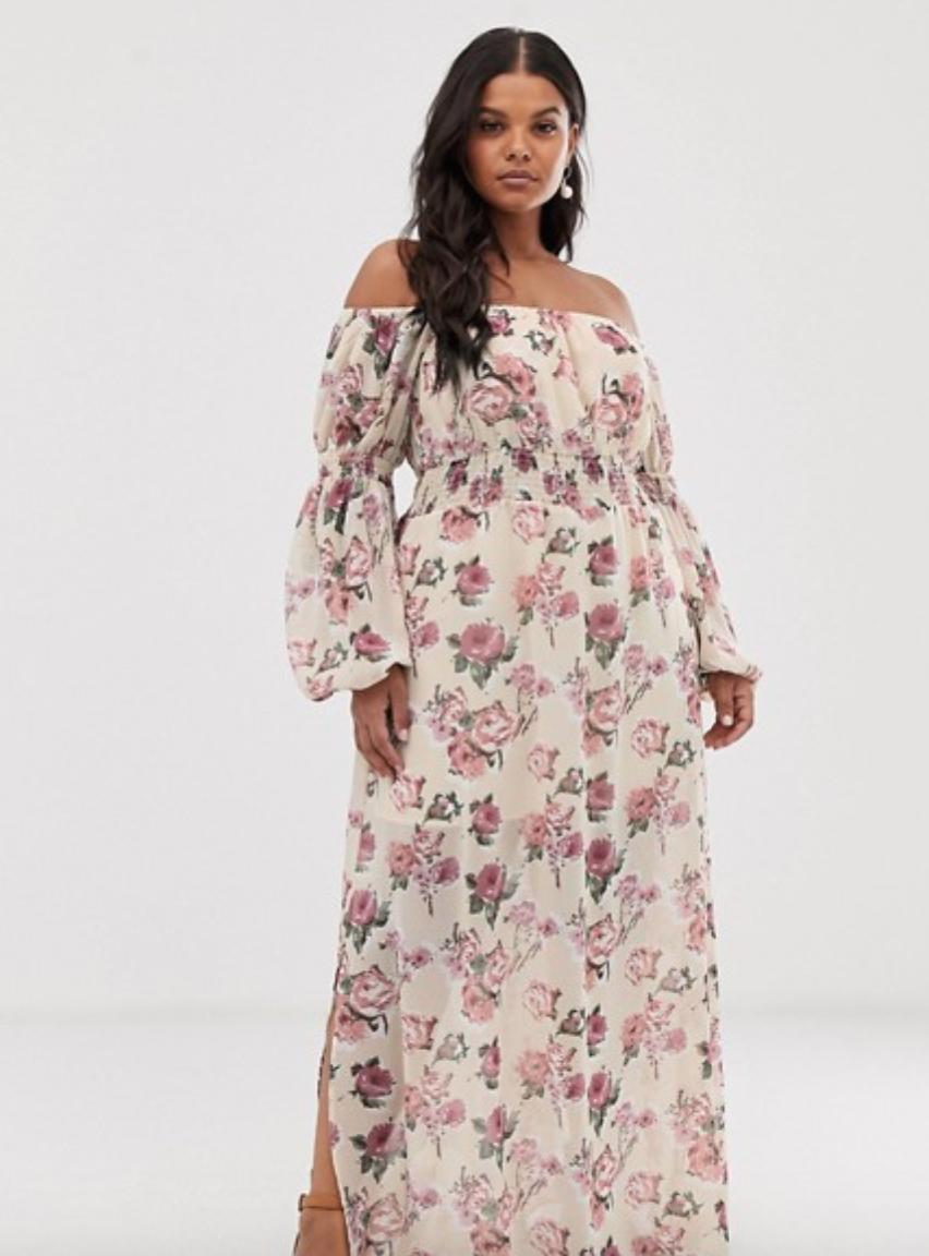 Bardot Maxi Dress in Rose Floral