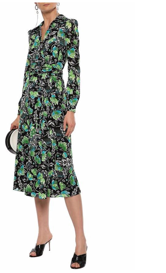 Phoenix Floral Print Stretch-Mesh Wrap Dress