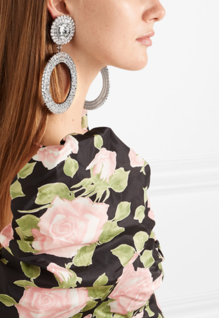 Oversized Silver- Tone Crystal Clip Earrings - Alessandra Rich, $485Photo Credit: Net-a-porter