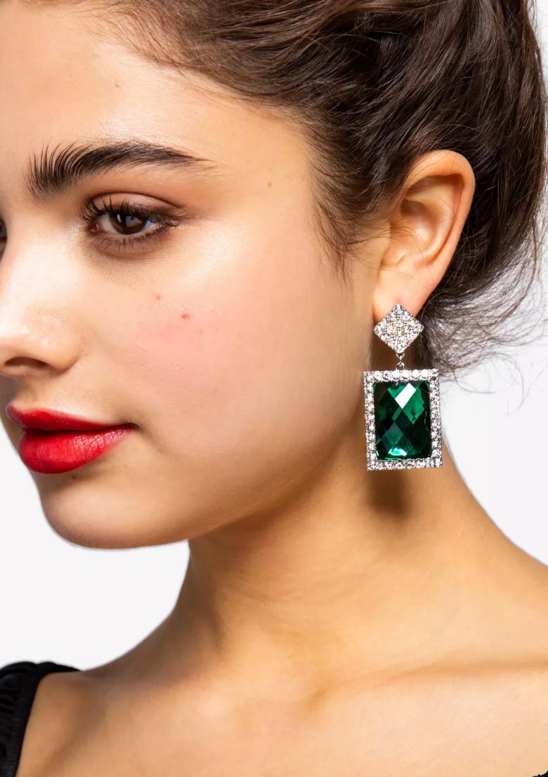 Crystal Square Drop Earrings - Topshop, $22Photo Credit: Topshop