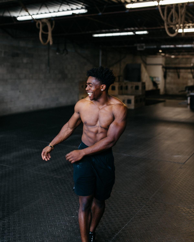 muscular man at crossfit gym