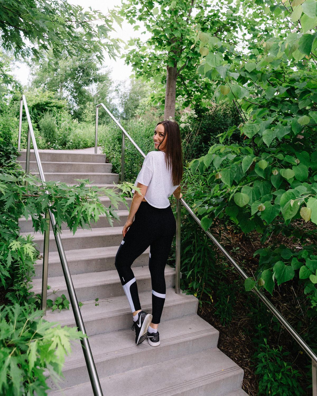 toronto wellness blogger stef walking up steps