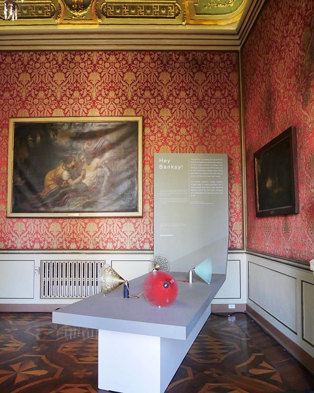 Sala E in #PalazzoCusani, hosting the 'Hey Banksy' exhibit by our client @fadisarieddine ... a tribute to the anonymous artist shining the light on a rainy day in Milan. #milandesignweek2019 #breradesignweek #poweredbyeclat