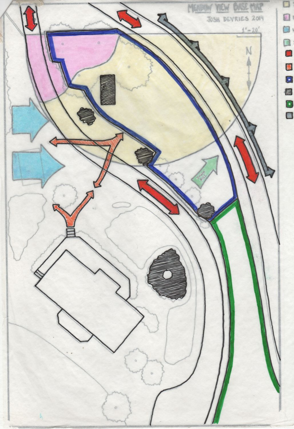 Computers can greatly speed up the design process, but sometimes drawing things by hand   gives a different perspective, and we have to admit the old school appeal is a factor. This is a sector overlay of a site base map traced from google earth, created to analyze influences of things like human traffic, prevailing winds, vehicle traffic, and sun course and consider them in the layout of the site. This is one of many useful design tools originating from permaculture teachings.