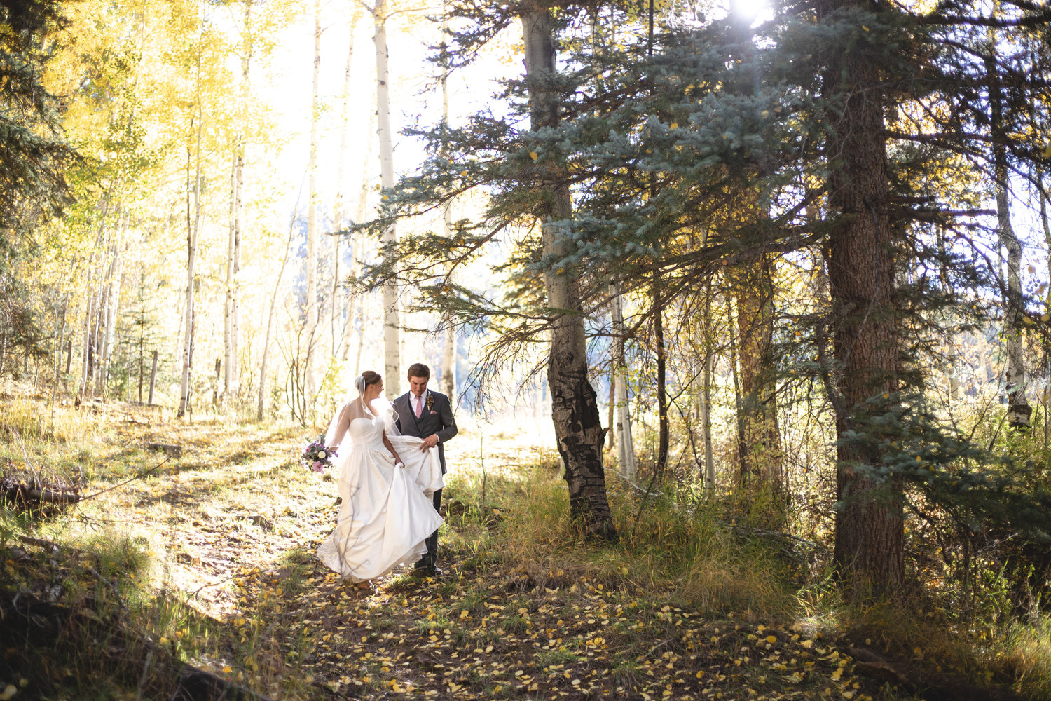 Outdoor wedding in the aspen near Durango, Colorado