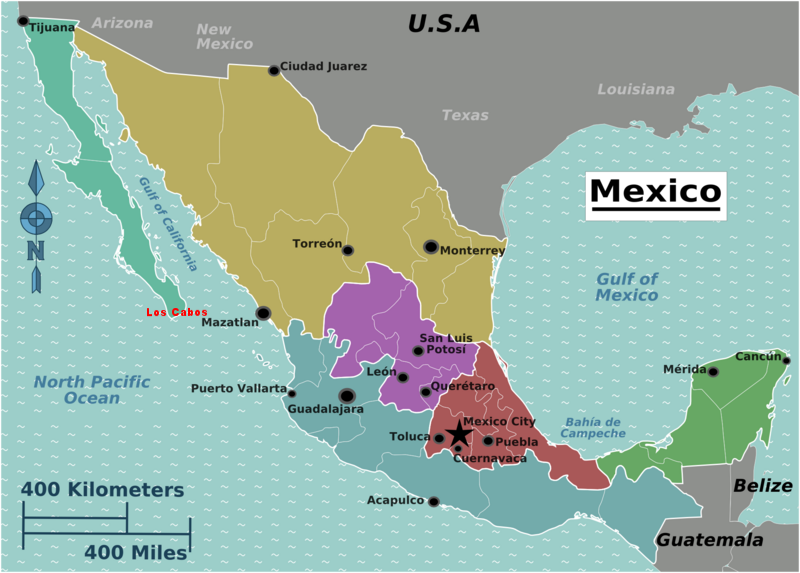Map of Mexico. Regions of Mexico. Created by Peter Fitzgerald 4 August 2008, Wikipedia.