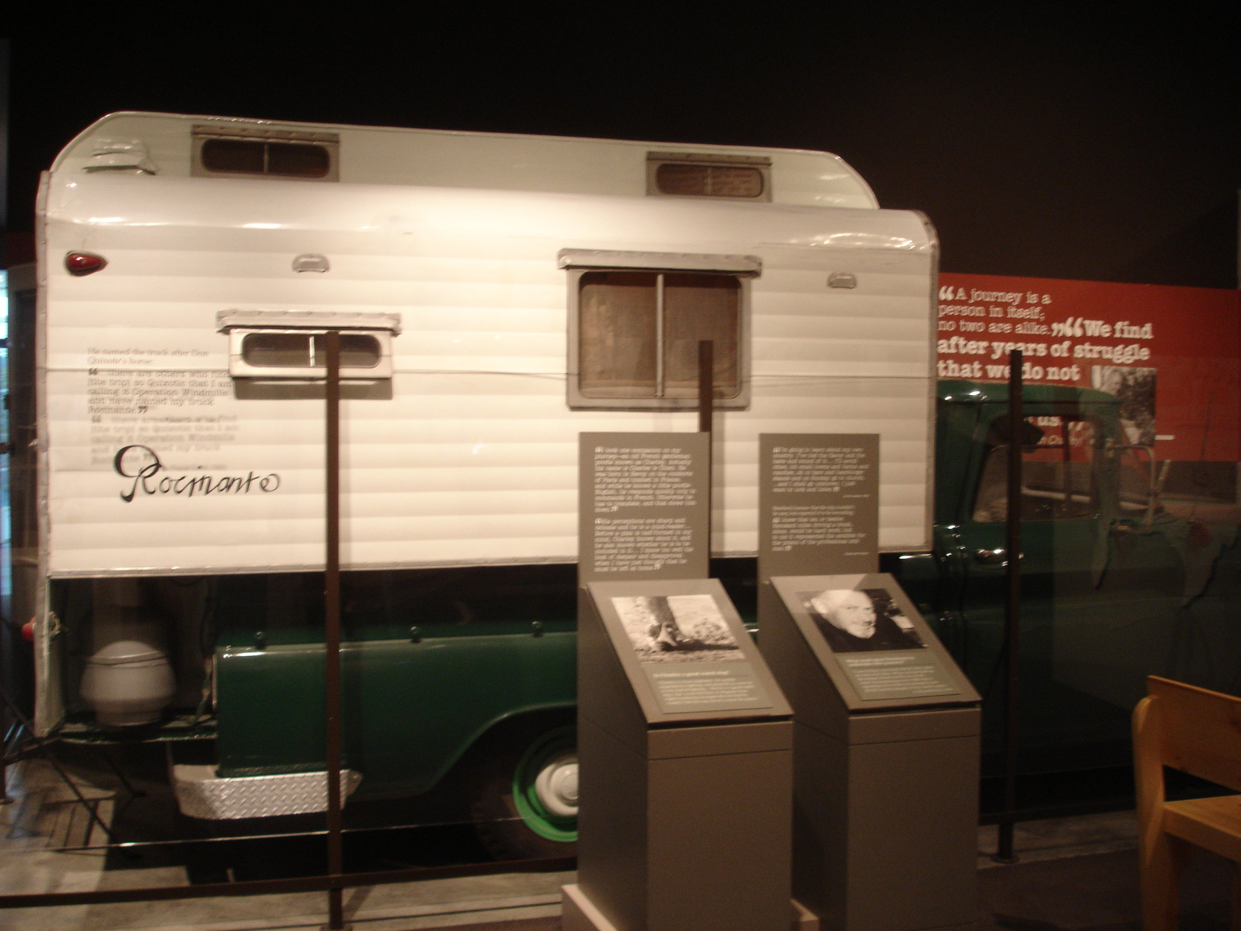 Steinbeck's famous camper, Rocinante, is on display at The National Steinbeck Center in Salinas California. Photo taken by Lord Harris, 1 September 2008, English Wikipedia.