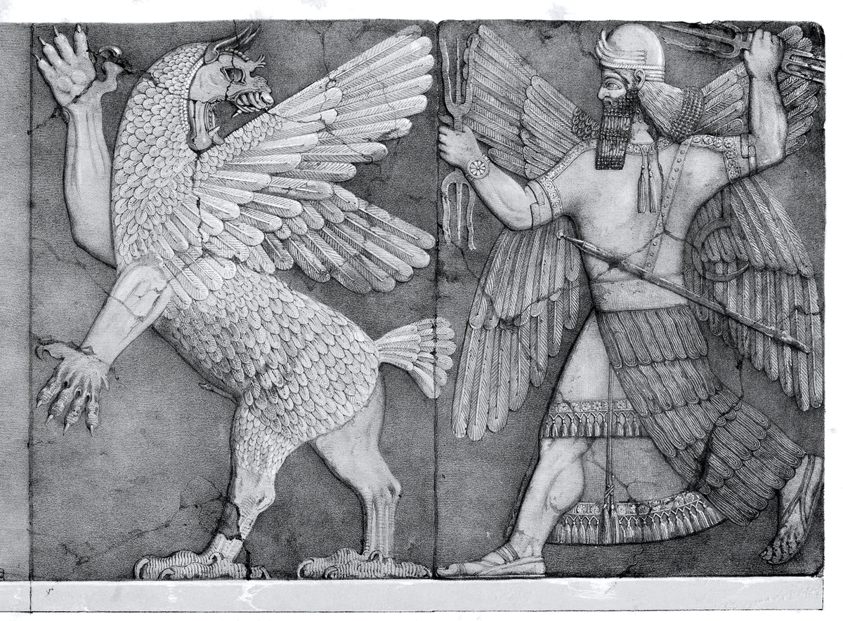 Anzu, demon-bird of ancient Mesopotamia, thief of the Tablet of Destinies whose words rule the universe [Please note that the picture is in the public domain, obtained from Wikipedia commons]