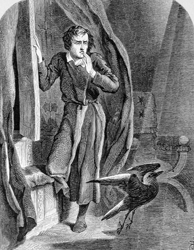Edgar Allan Poe and the Raven -picture is in the public domain, obtained from Wikipedia commons.