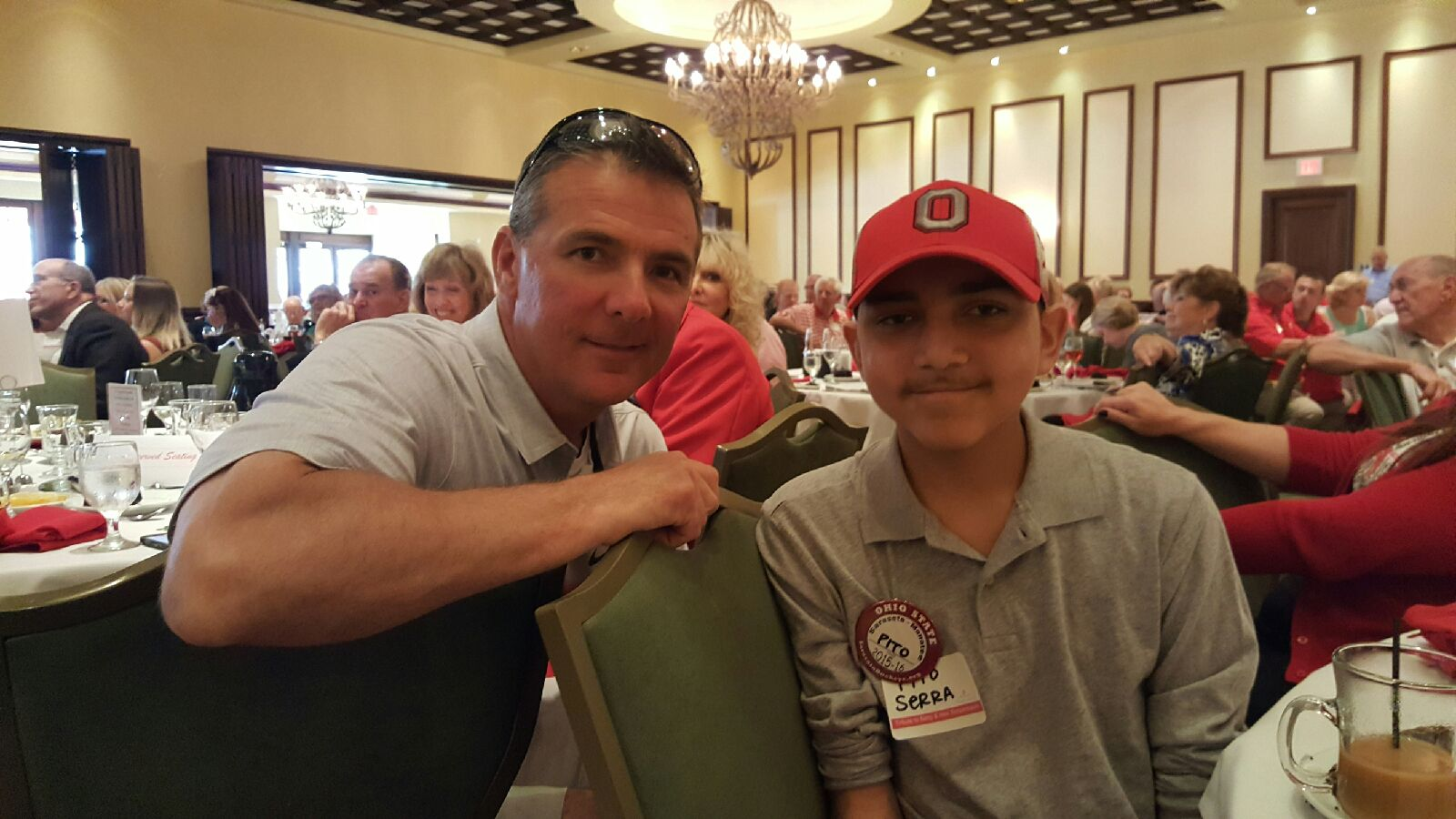 Though he missed his dream weekend,Pito had lunch with Urban Meyer. Head Coach of The Ohio State University football team!
