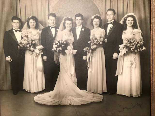 Aunt Terry is the second woman from the right, at her friend Rose's wedding.