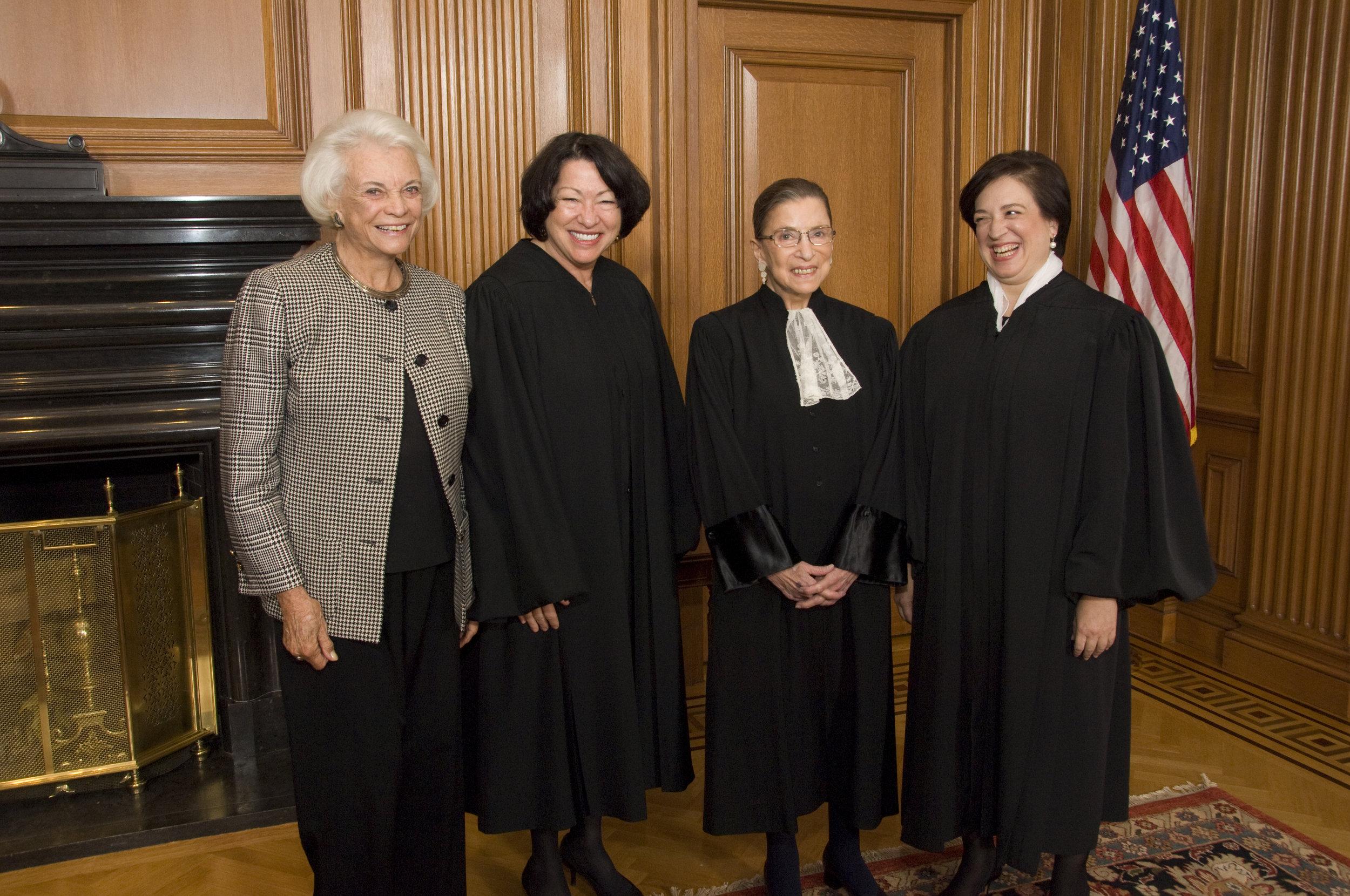 Supreme Court Justices Sandra Day O'Connor, Sonia Sotomayor, Ruth Bader Ginsburg and Elena Kagan.