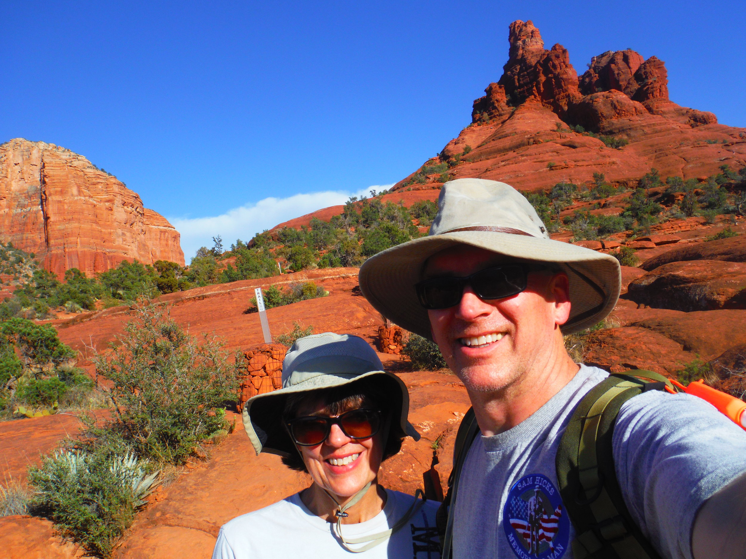 Ann and Pat Howley in Sedona on an unusually snake free hike.