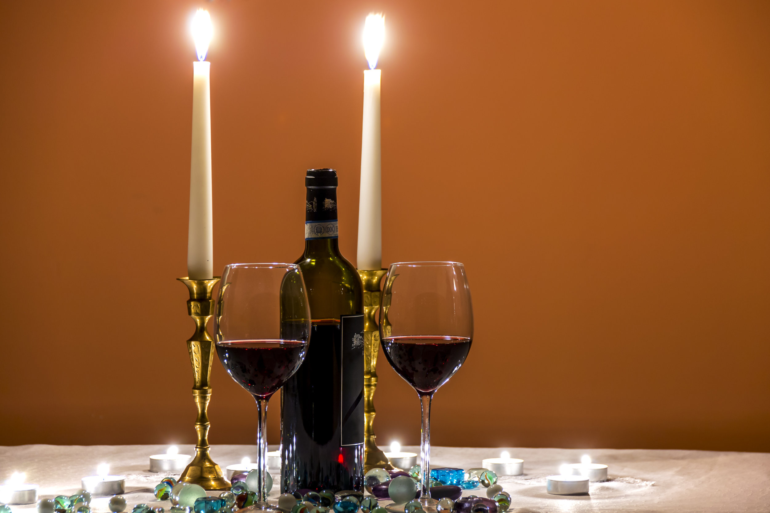 Romantic evening with wine