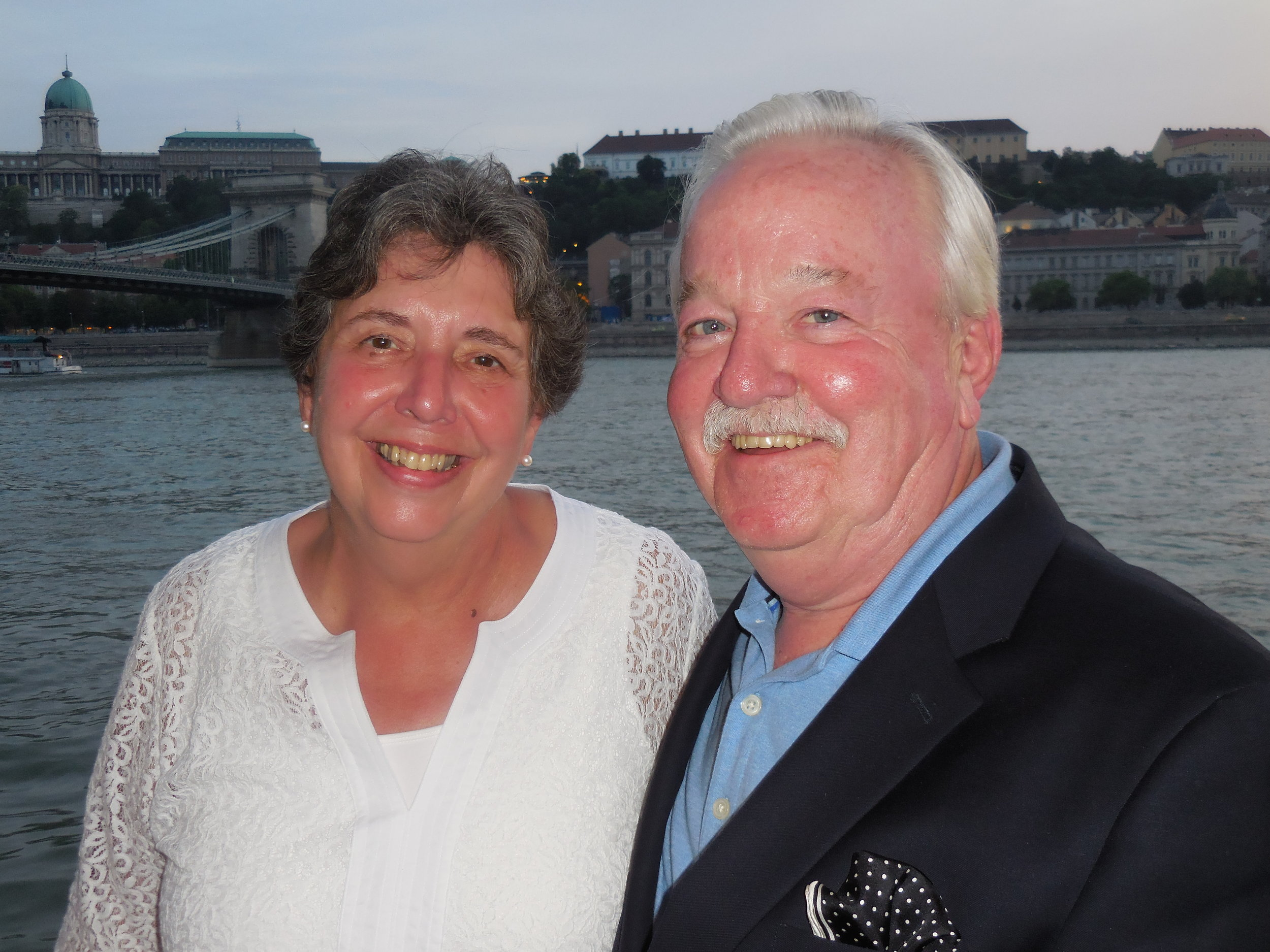 Kathie and Jim O'Brien on the Danube River on Viking River Cruise of Europe in mid-July 2015.