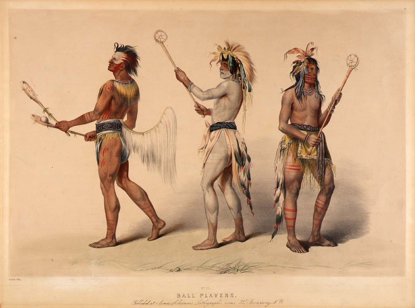 Ball players from theChoctaw andLakota tribe as painted byGeorge Catlin in the 1830s
