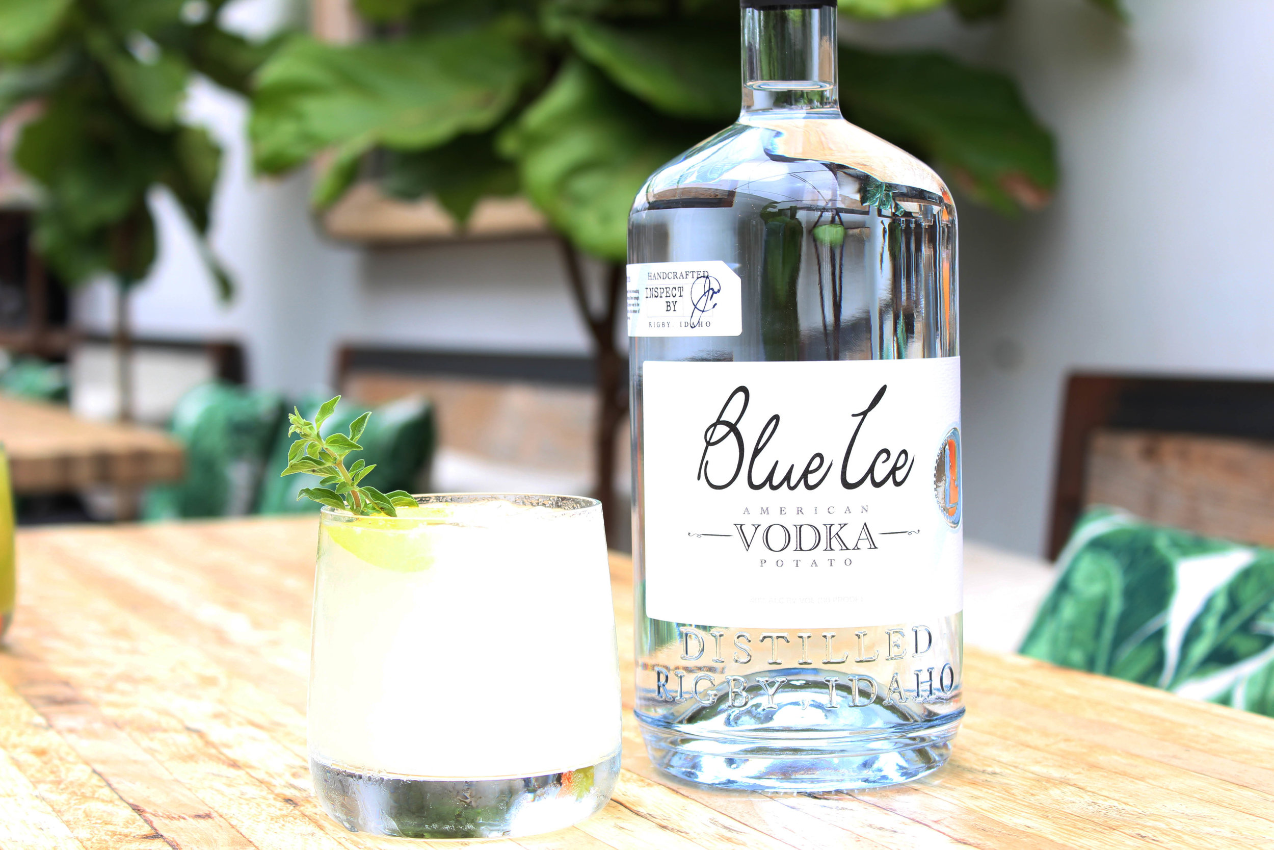 Dry Ice - -1.5oz Blue Ice Vodka-1/2oz Cointreau-1/4oz agave-1/2oz lemon juice-3oz Brut IPA