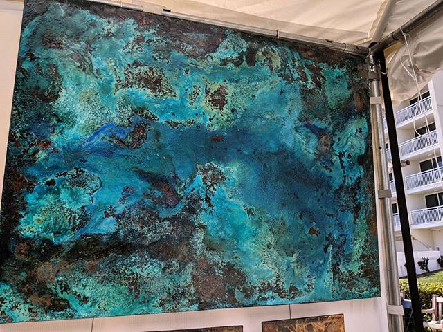 One more from yesterday that found a home! Out here on 23rd Street at Neptune Arts Festival 10am -7pm today and 10-6pm tomorrow! #neptuneartsfestival #copperwallart