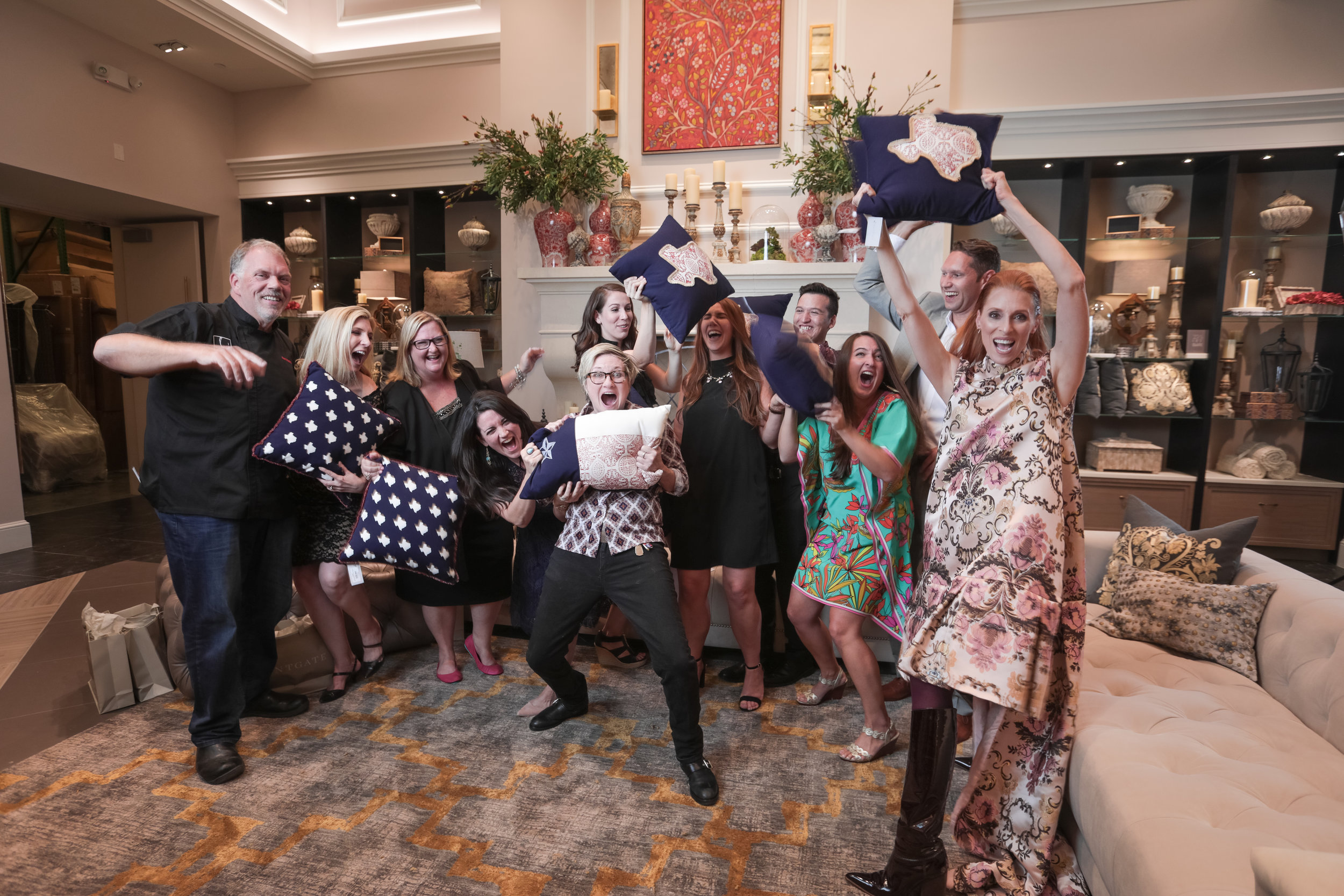 """This photo about sums up the night from the grand opening....it was a """"smashing success!"""" Pictured here is the Dala team with our client, Frontgate, as well as Kent Rathbun and Leann Berry, celebrating a wildly successful event!"""