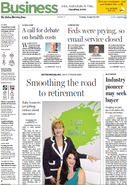 Cynthia and Leah on the front page of the Dallas Morning News Business section, talking about their succession planning and the future of C. Pharr.