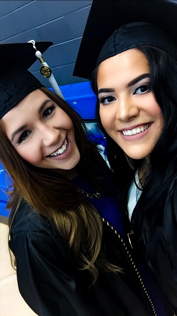 Dala's Elizabeth LaMonte (left) on her graduation day at the University of Texas at Arlington