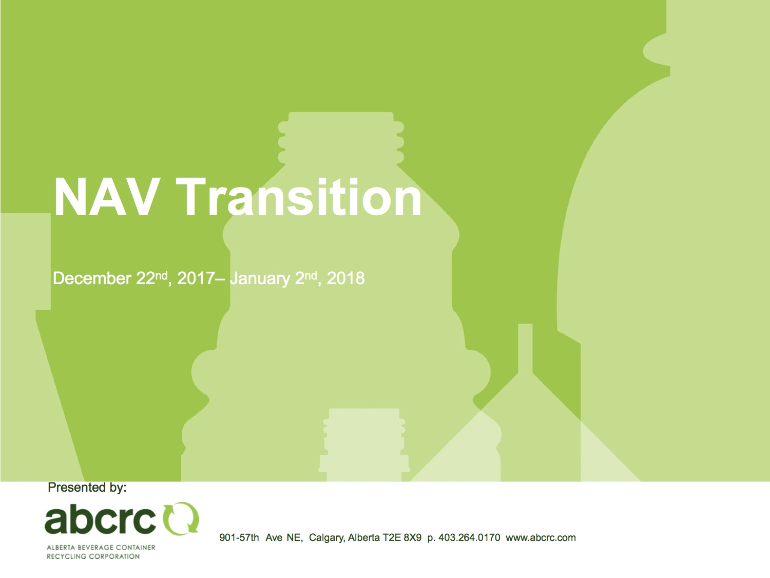 Colin Carter - VP Operations ABCRC  NAV Transition Presentation