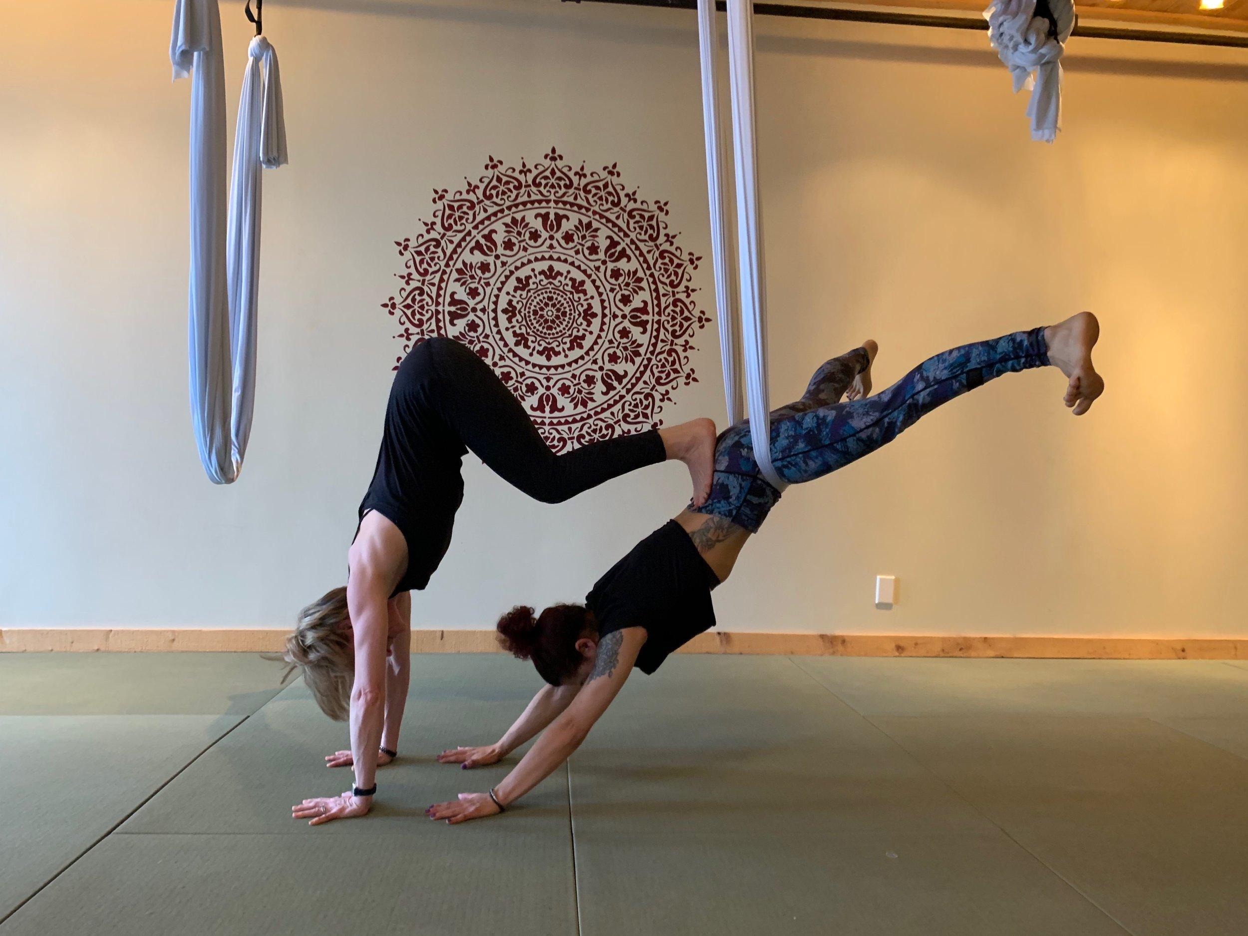 Perfect Pairing Chocolate Wine Aerial Partner Yoga Common Ground Yoga