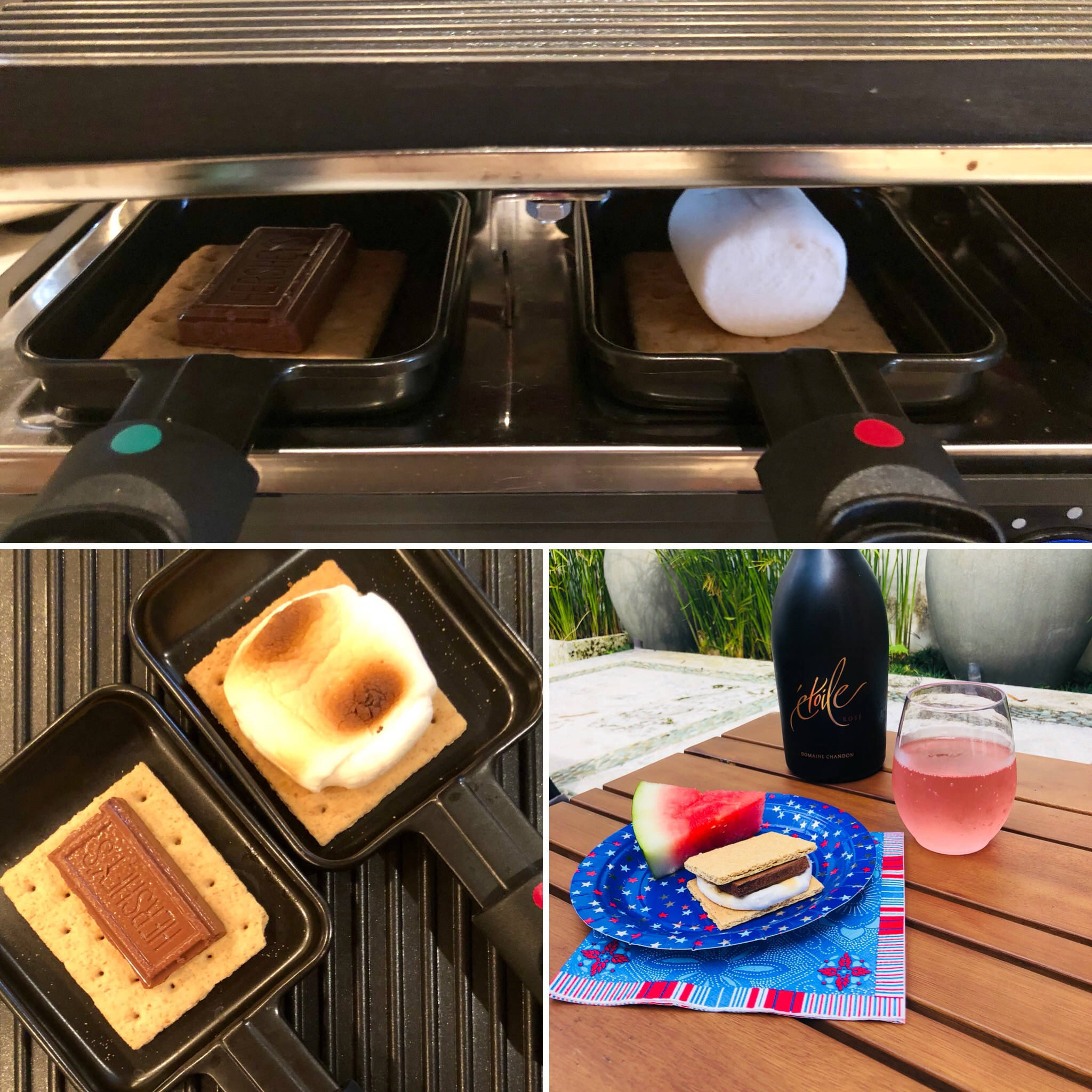 We've made dessert on our  Raclette . It expertly toasted up the marshmallows and melted our chocolate for some scrumptious s'mores using the little coupelle pans. And nobody got a stick in the eye.