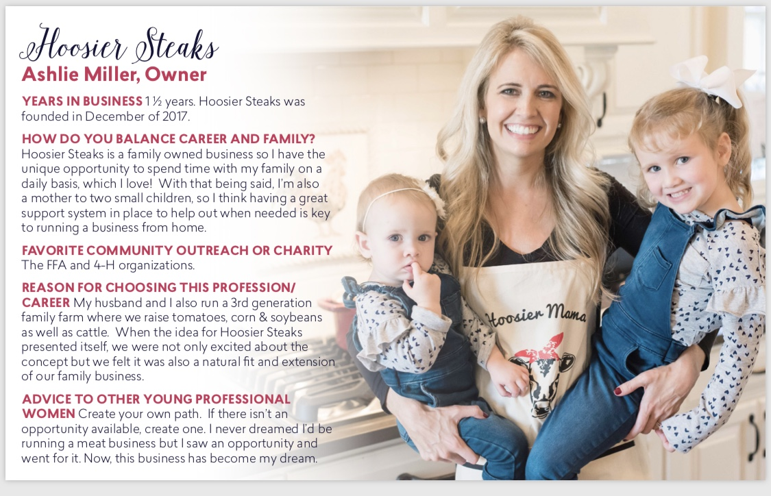 Hoosier Steaks Owner, Ashlie Miller, featured as one of Heartland Magazine's Women in Business.