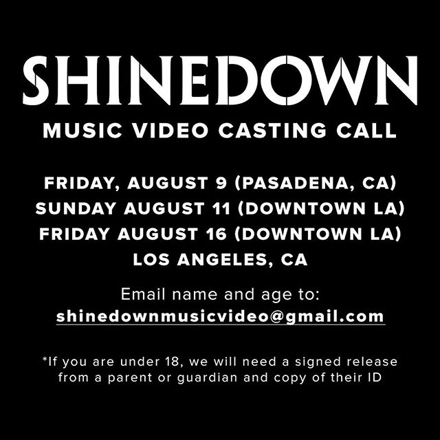 Here's your chance to be in a official @shinedown video !