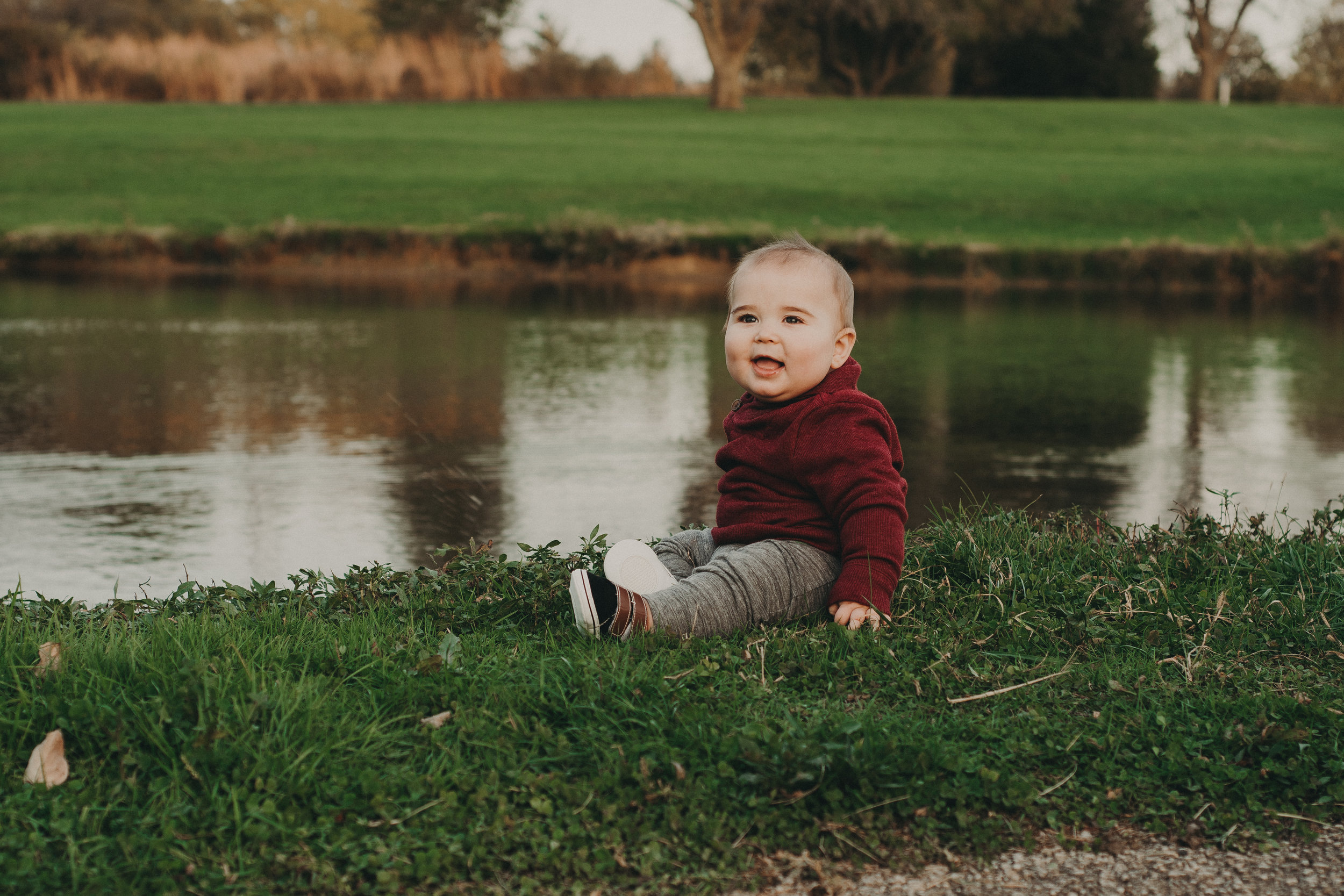 Charlie was loving the water and bank of the pond.