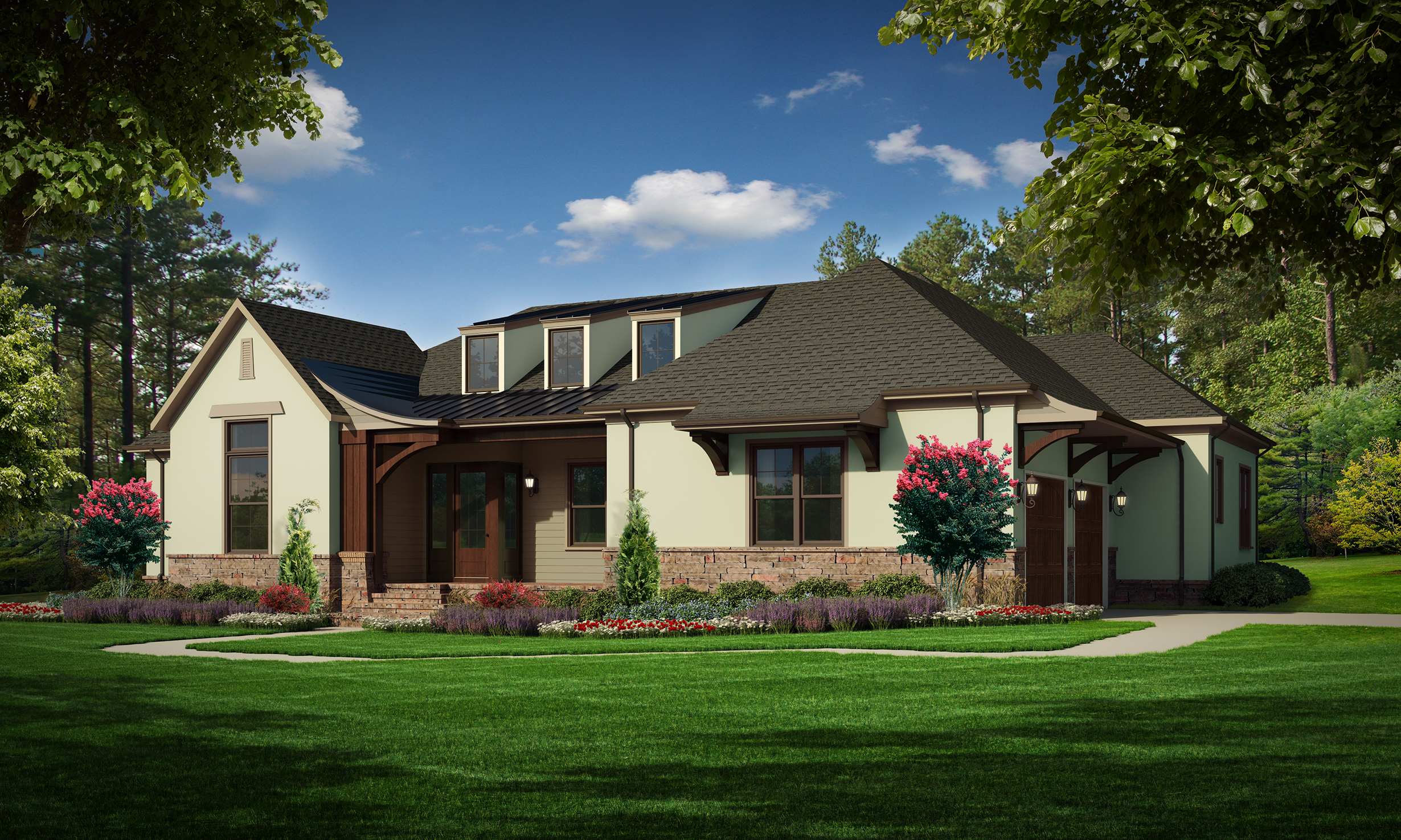 """A Option (Stucco)  Total SF 3669 sq. ft. Total SF heated 2514 sq. ft. Bedrooms 3 Bathrooms 3 Width: 74' Depth: 62'-9"""" Attached two-car garage Porches: Covered front porch, Covered back porch"""