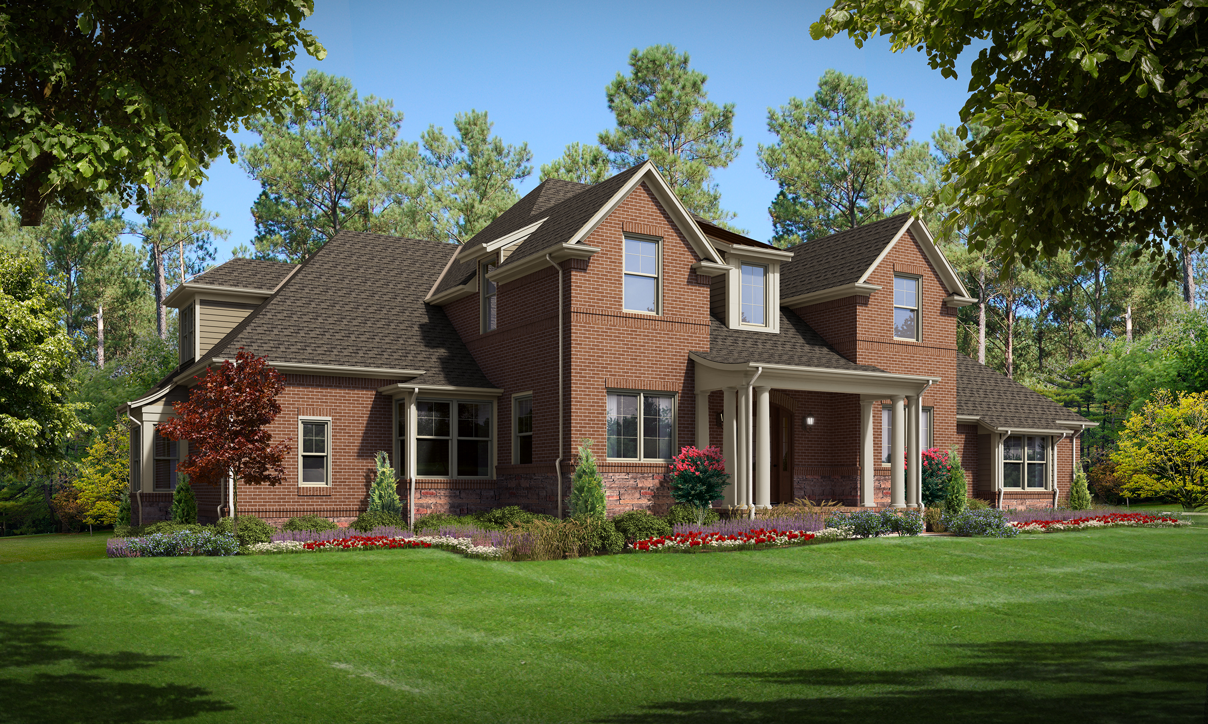 "Option C (Brick)  Total SF 7261 sq. ft. Total SF Heated 5159 sq. ft Bedrooms 5 Bathrooms 4 Width: 87'-6"" Depth: 76'-9"" Attached three-car garage Bonus room Home theater Porches: Covered front porch, Lower covered back porch, Upstairs covered porch"
