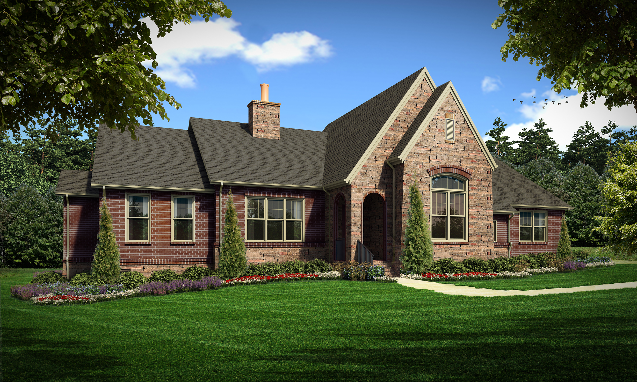 "Option C (Brick)  Total SF 4354 sq. ft. Total SF heated 2994 sq. ft. Bedrooms 3 Bathrooms 3.5  Width: 88'-6"" Depth: 68'-6"" Attached two-car garage Porches: Covered back porch"