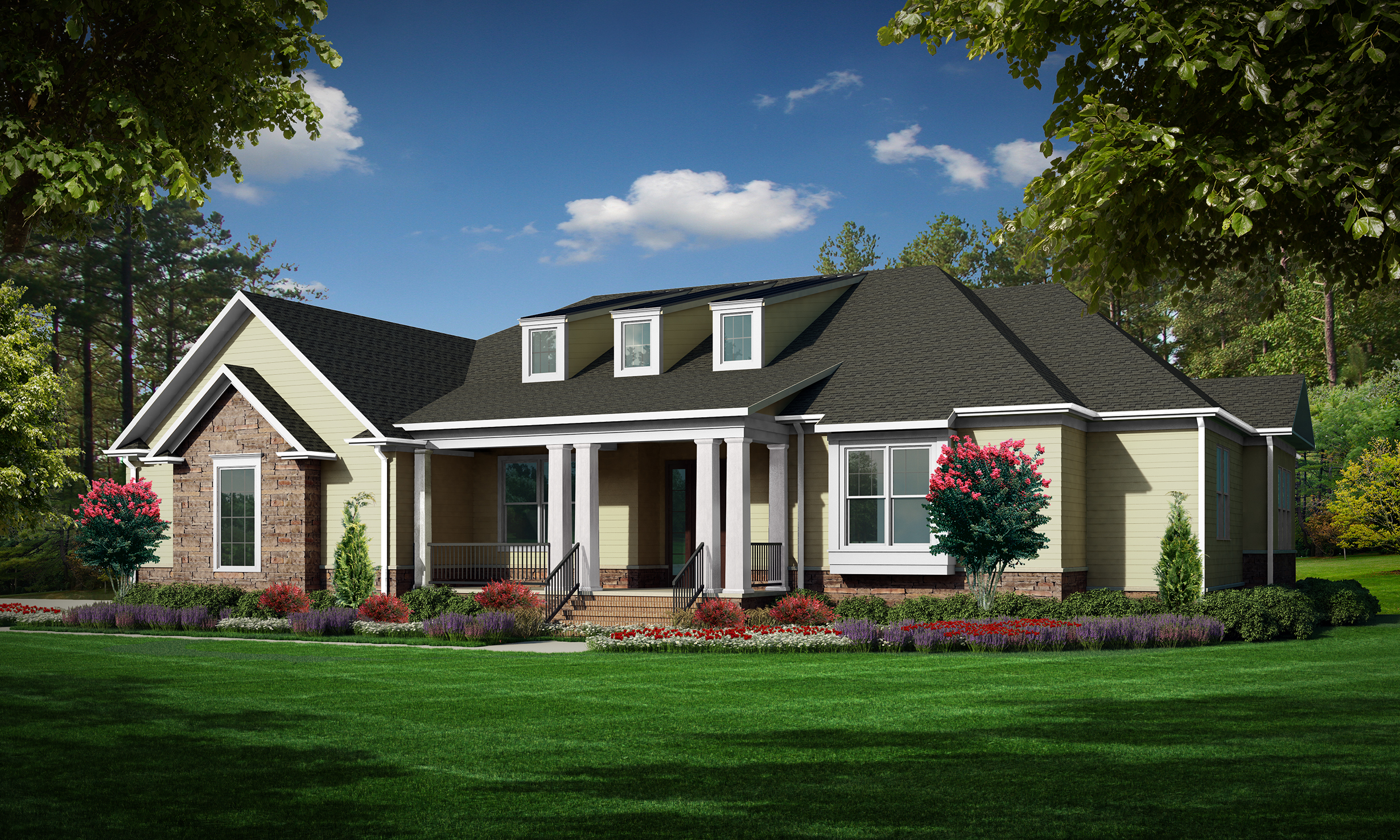 """Option B (Siding)  Total SF 5033 sq. ft. Total SF heated 3356 sq. ft. Bedrooms 4 Bathrooms 3.5 Width: 78'-0"""" Depth: 83'-0"""" Attached three-car garage Bonus Room Rear covered porch Front covered porch"""