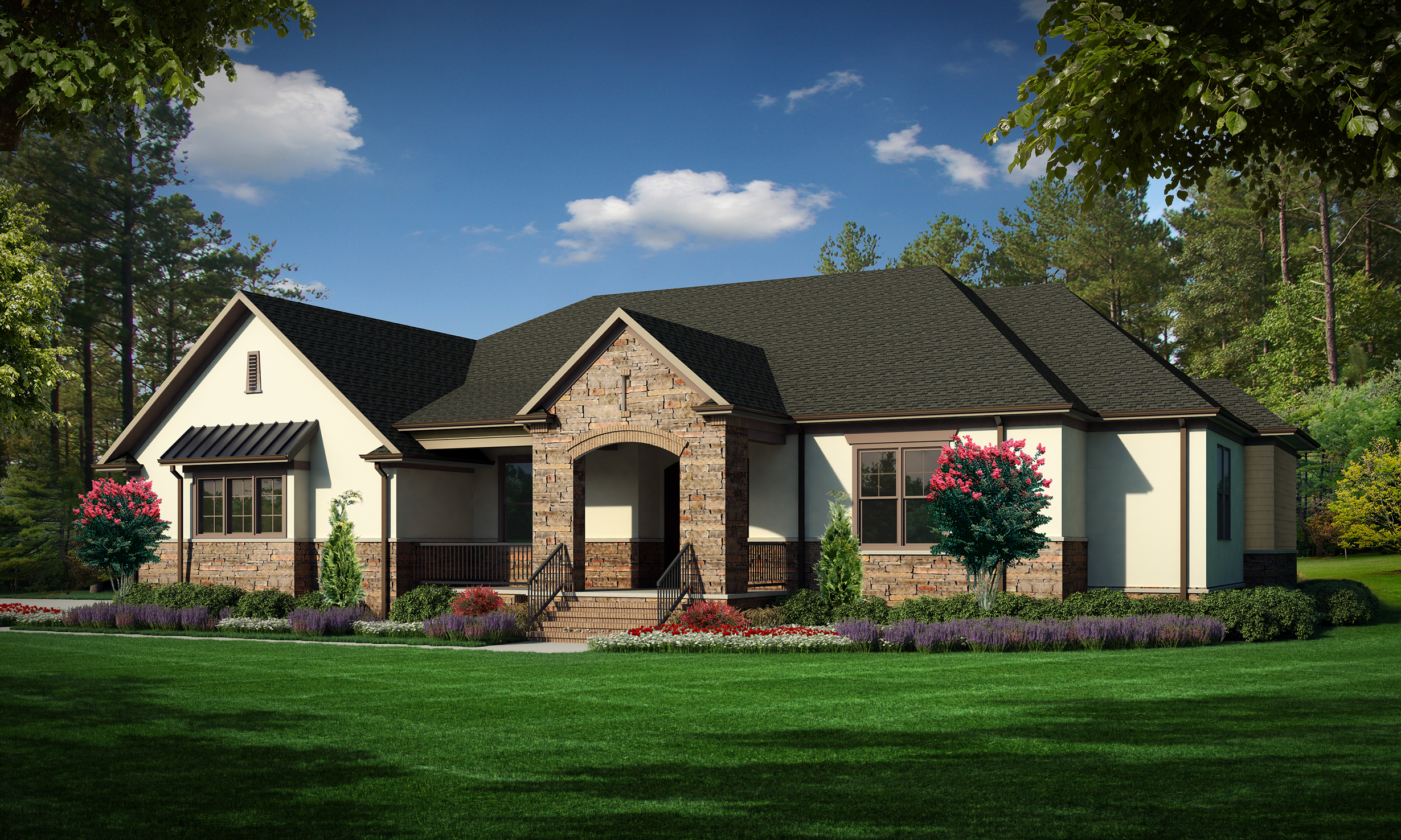 """Option A (Stucco)  Total SF 5033 sq. ft. Total SF heated 3356 sq. ft. Bedrooms 4 Bathrooms 3.5 Width: 78'-0"""" Depth: 83'-0"""" Attached three-car garage Bonus Room Rear covered porch Front covered porch"""
